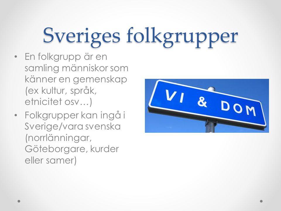 Sveriges folkgrupper En folkgrupp är en samling människor som känner en gemenskap (ex kultur, språk, etnicitet osv…) Folkgrupper kan ingå i Sverige/va