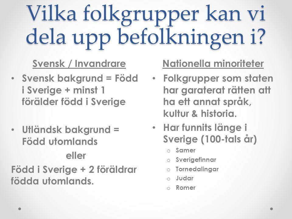 Vilka folkgrupper kan vi dela upp befolkningen i? Svensk / InvandrareNationella minoriteter Svensk bakgrund = Född i Sverige + minst 1 förälder född i