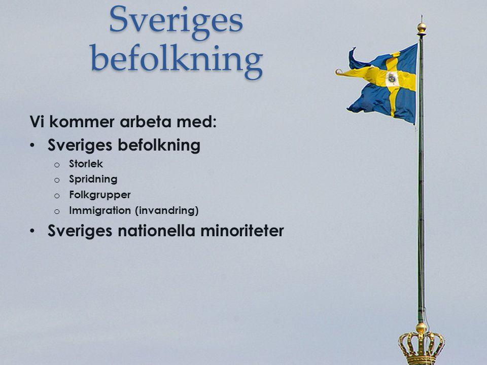 Sveriges befolkning Vi kommer arbeta med: Sveriges befolkning o Storlek o Spridning o Folkgrupper o Immigration (invandring) Sveriges nationella minor
