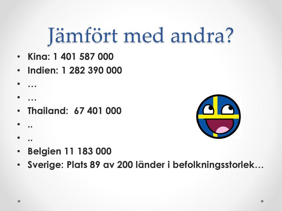 Ett land med svängrum Sverige är glest befolkat: 1.