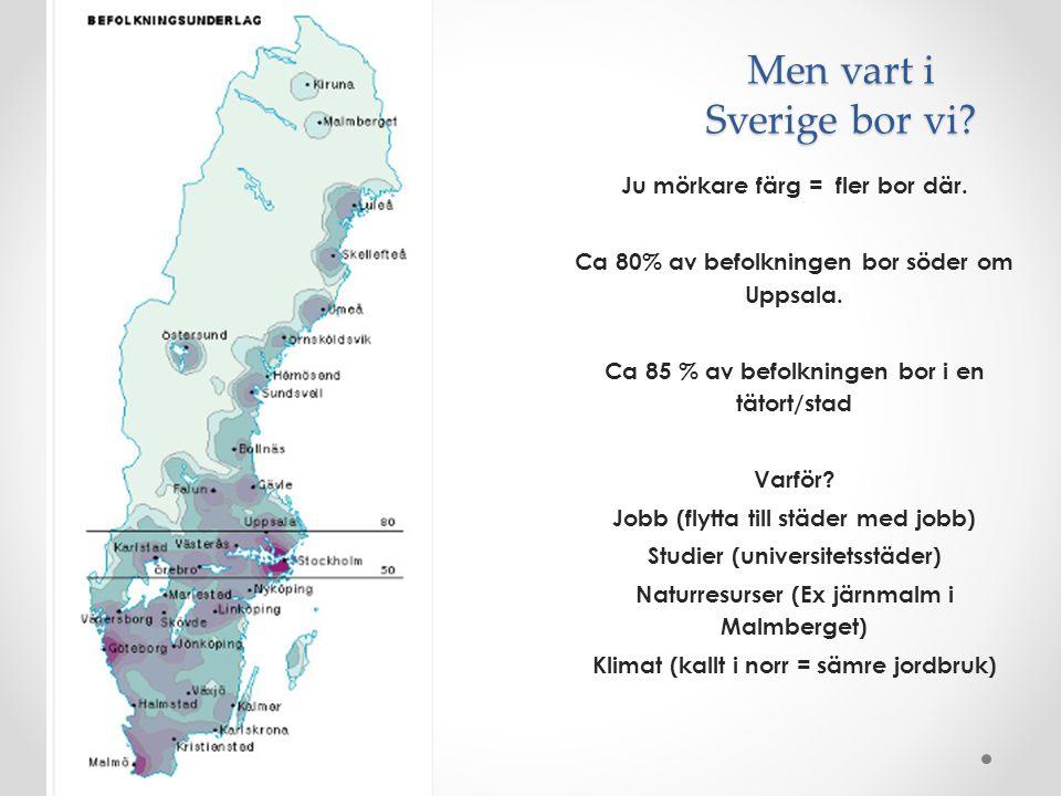 Men vart i Sverige bor vi? Ju mörkare färg = fler bor där. Ca 80% av befolkningen bor söder om Uppsala. Ca 85 % av befolkningen bor i en tätort/stad V