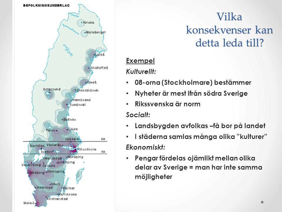 Vilka konsekvenser kan detta leda till? Exempel Kulturellt: 08-orna (Stockholmare) bestämmer Nyheter är mest ifrån södra Sverige Rikssvenska är norm S