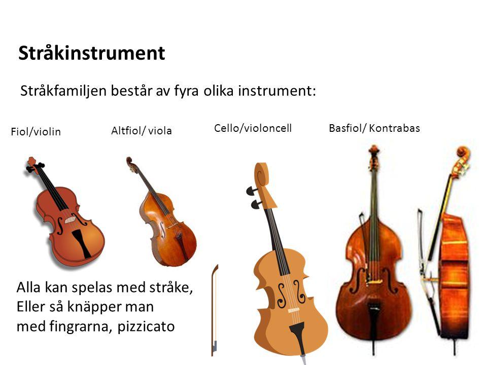 Stråkinstrument Stråkfamiljen består av fyra olika instrument: Fiol/violin Altfiol/ viola Cello/violoncellBasfiol/ Kontrabas Alla kan spelas med stråk