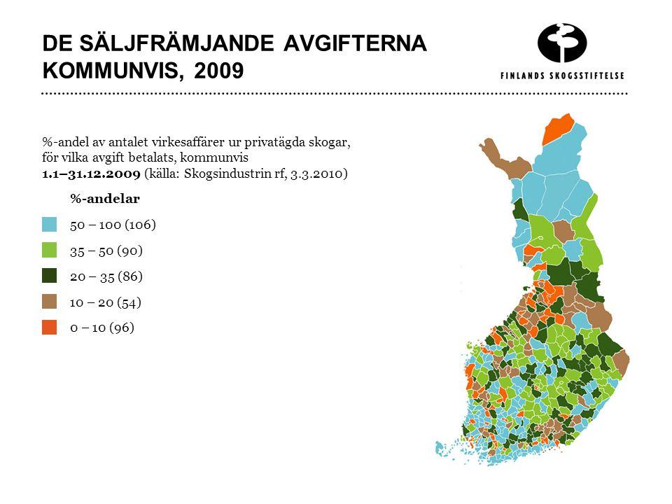 DE SÄLJFRÄMJANDE AVGIFTERNA KOMMUNVIS, 2009 %-andel av antalet virkesaffärer ur privatägda skogar, för vilka avgift betalats, kommunvis 1.1–31.12.2009 (källa: Skogsindustrin rf, 3.3.2010) 50 – 100 (106) 35 – 50 (90) 20 – 35 (86) 10 – 20 (54) 0 – 10 (96) %-andelar