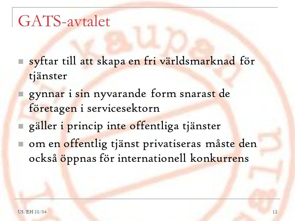 US/EH 10/0413 GATS-avtalet syftar till att skapa en fri världsmarknad för tjänster gynnar i sin nyvarande form snarast de företagen i servicesektorn gäller i princip inte offentliga tjänster om en offentlig tjänst privatiseras måste den också öppnas för internationell konkurrens