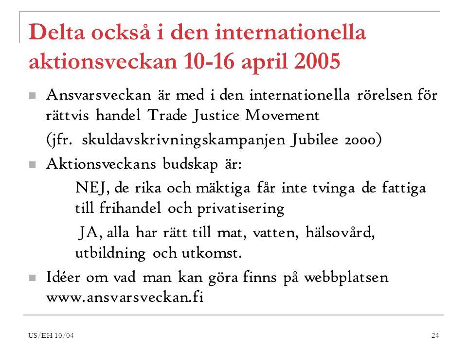 US/EH 10/0424 Delta också i den internationella aktionsveckan 10-16 april 2005 Ansvarsveckan är med i den internationella rörelsen för rättvis handel Trade Justice Movement (jfr.