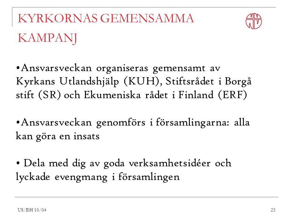 US/EH 10/0425 KYRKORNAS GEMENSAMMA KAMPANJ Ansvarsveckan organiseras gemensamt av Kyrkans Utlandshjälp (KUH), Stiftsrådet i Borgå stift (SR) och Ekumeniska rådet i Finland (ERF) Ansvarsveckan genomförs i församlingarna: alla kan göra en insats Dela med dig av goda verksamhetsidéer och lyckade evengmang i församlingen