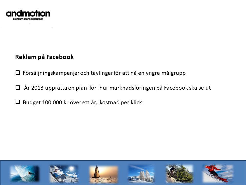 Reklam på Facebook  Försäljningskampanjer och tävlingar för att nå en yngre målgrupp  År 2013 upprätta en plan för hur marknadsföringen på Facebook ska se ut  Budget 100 000 kr över ett år, kostnad per klick