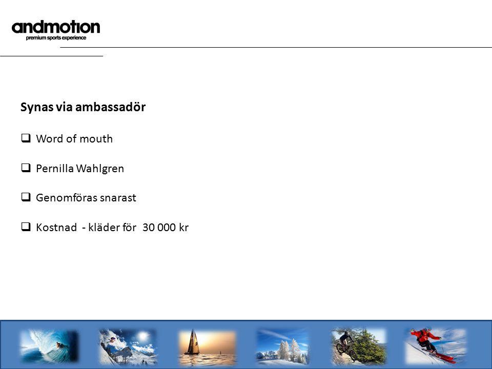 Synas via ambassadör  Word of mouth  Pernilla Wahlgren  Genomföras snarast  Kostnad - kläder för 30 000 kr