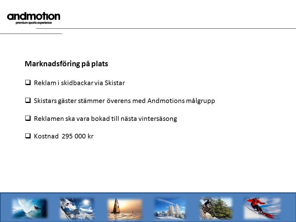Marknadsföring på plats  Reklam i skidbackar via Skistar  Skistars gäster stämmer överens med Andmotions målgrupp  Reklamen ska vara bokad till nästa vintersäsong  Kostnad 295 000 kr