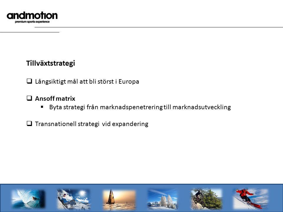 Tillväxtstrategi  Långsiktigt mål att bli störst i Europa  Ansoff matrix  Byta strategi från marknadspenetrering till marknadsutveckling  Transnat