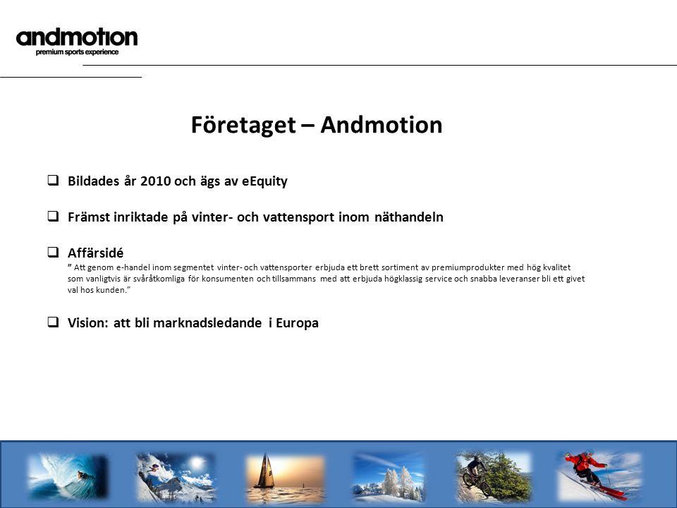 """Företaget – Andmotion  Bildades år 2010 och ägs av eEquity  Främst inriktade på vinter- och vattensport inom näthandeln  Affärsidé """" Att genom e-ha"""