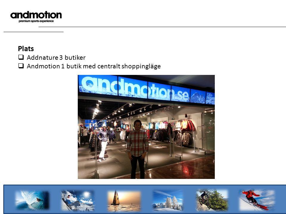 Plats  Addnature 3 butiker  Andmotion 1 butik med centralt shoppingläge