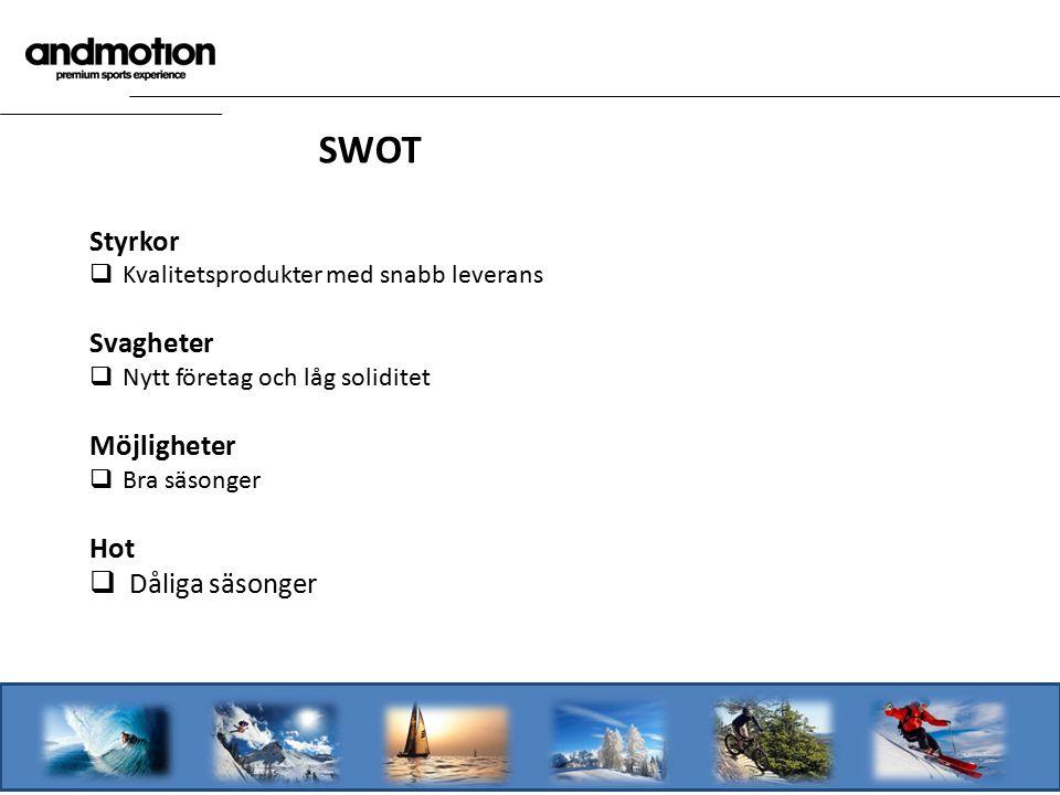 SWOT Styrkor  Kvalitetsprodukter med snabb leverans Svagheter  Nytt företag och låg soliditet Möjligheter  Bra säsonger Hot  Dåliga säsonger