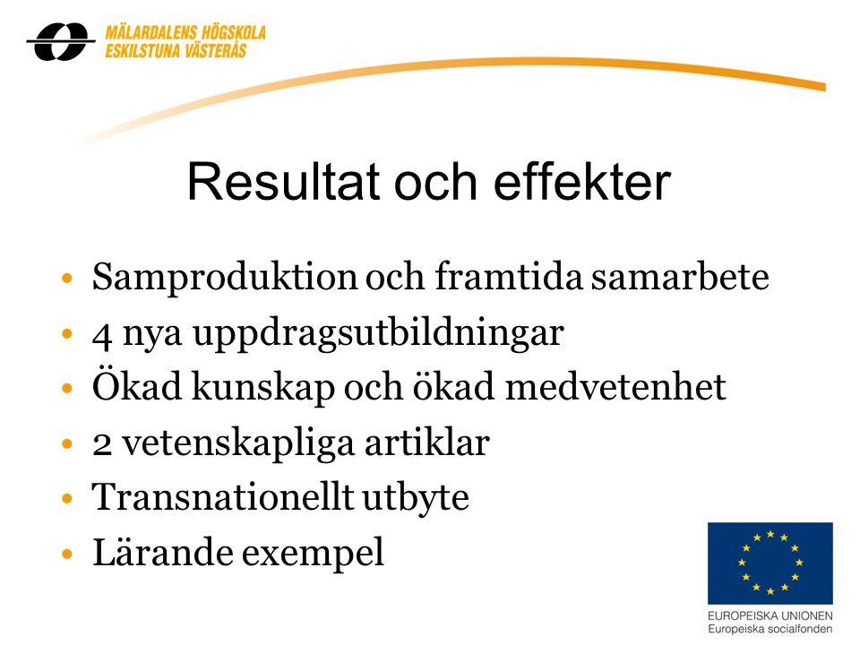 Resultat och effekter Samproduktion och framtida samarbete 4 nya uppdragsutbildningar Ökad kunskap och ökad medvetenhet 2 vetenskapliga artiklar Transnationellt utbyte Lärande exempel 10