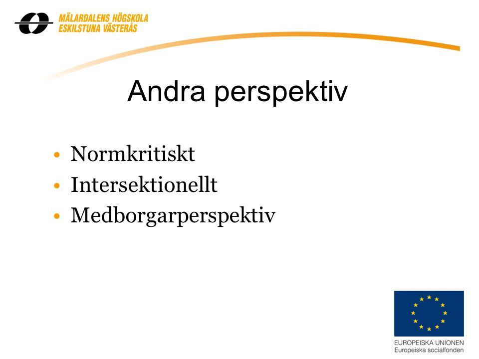 5 Andra perspektiv Normkritiskt Intersektionellt Medborgarperspektiv