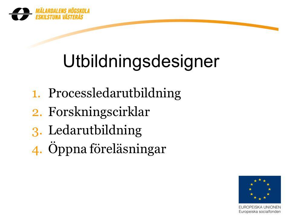 Utbildningsdesigner 1.Processledarutbildning 2.Forskningscirklar 3.Ledarutbildning 4.Öppna föreläsningar 6