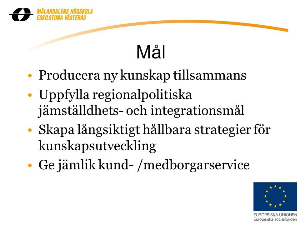 Mål Producera ny kunskap tillsammans Uppfylla regionalpolitiska jämställdhets- och integrationsmål Skapa långsiktigt hållbara strategier för kunskapsutveckling Ge jämlik kund- /medborgarservice 9