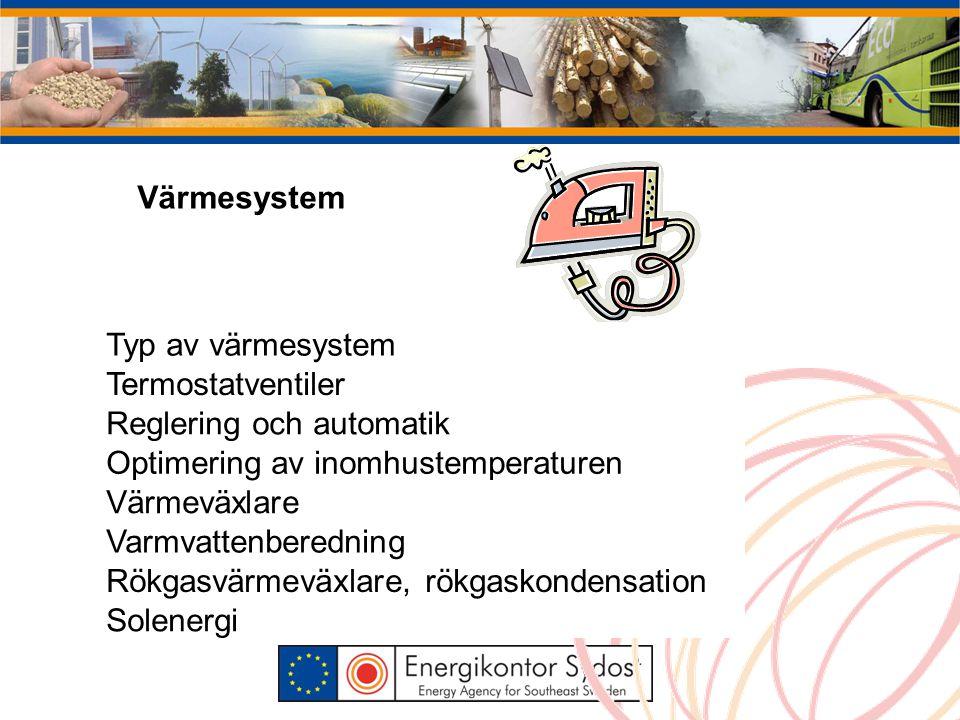 Värmesystem Typ av värmesystem Termostatventiler Reglering och automatik Optimering av inomhustemperaturen Värmeväxlare Varmvattenberedning Rökgasvärmeväxlare, rökgaskondensation Solenergi