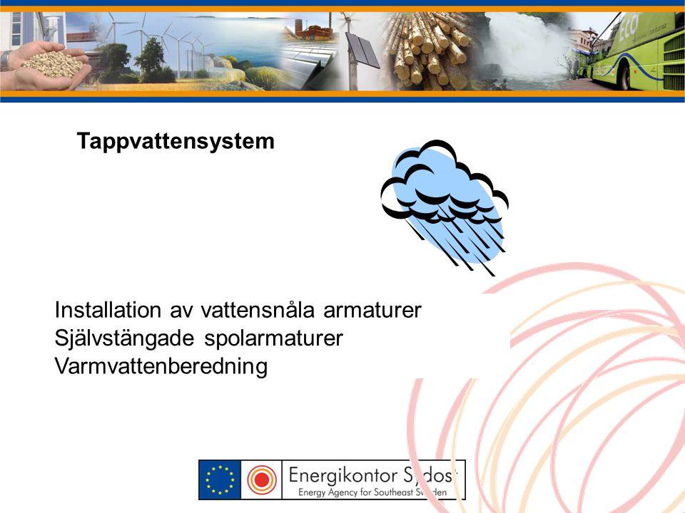 Tappvattensystem Installation av vattensnåla armaturer Självstängade spolarmaturer Varmvattenberedning