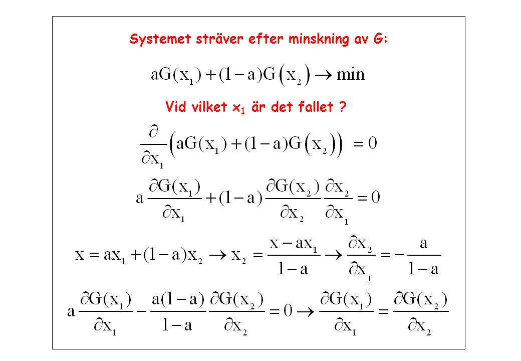Systemet sträver efter minskning av G: Vid vilket x 1 är det fallet ?