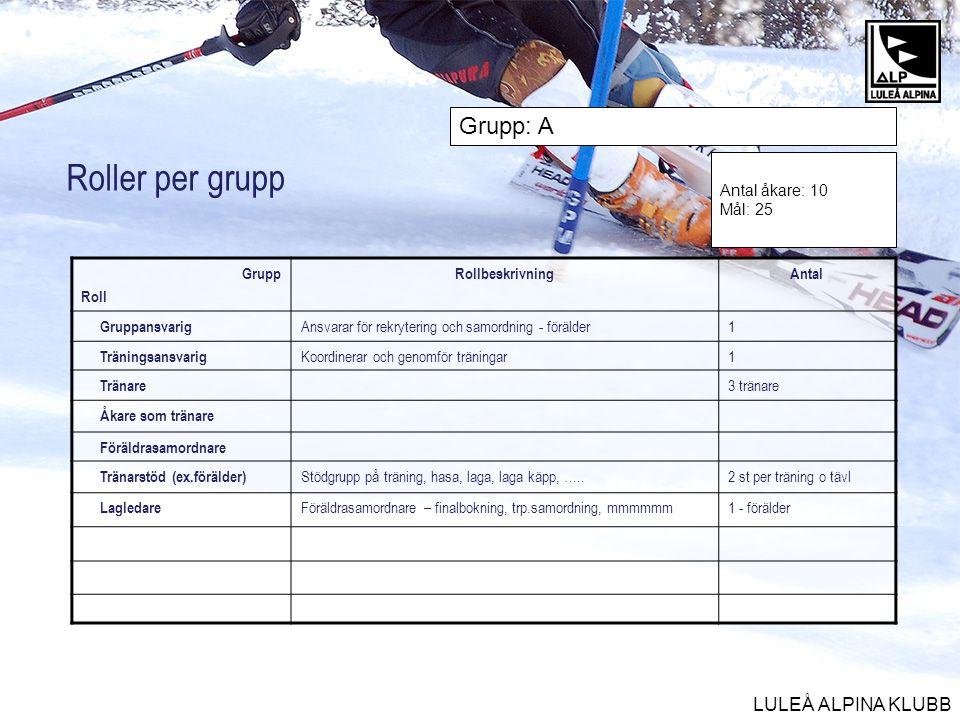 LULEÅ ALPINA KLUBB Roller per grupp Grupp Roll RollbeskrivningAntal Gruppansvarig Ansvarar för rekrytering och samordning - förälder1 Träningsansvarig