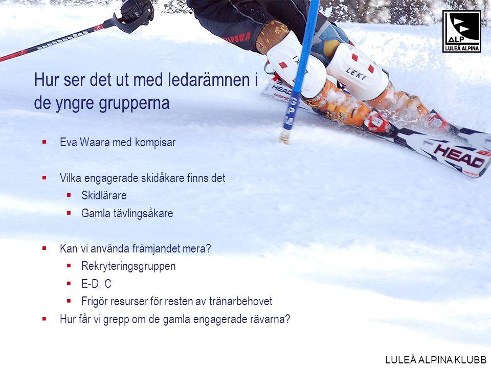 LULEÅ ALPINA KLUBB Hur ser det ut med ledarämnen i de yngre grupperna  Eva Waara med kompisar  Vilka engagerade skidåkare finns det  Skidlärare  G