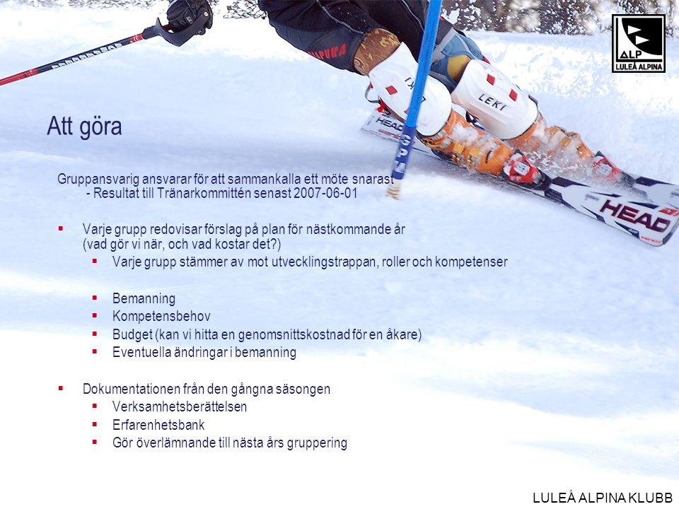 LULEÅ ALPINA KLUBB Att göra Gruppansvarig ansvarar för att sammankalla ett möte snarast - Resultat till Tränarkommittén senast 2007-06-01  Varje grup