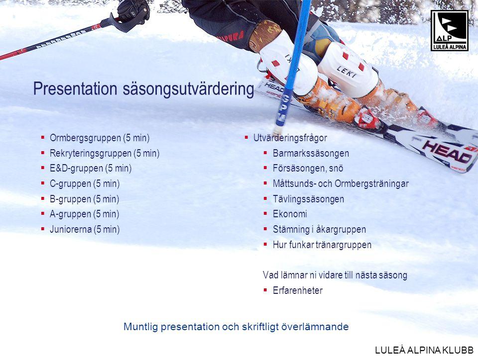 LULEÅ ALPINA KLUBB Presentation säsongsutvärdering  Ormbergsgruppen (5 min)  Rekryteringsgruppen (5 min)  E&D-gruppen (5 min)  C-gruppen (5 min) 