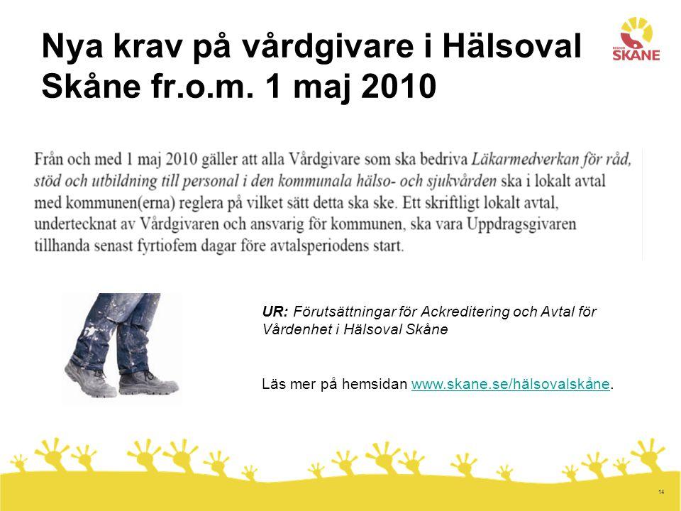 14 Nya krav på vårdgivare i Hälsoval Skåne fr.o.m. 1 maj 2010 UR: Förutsättningar för Ackreditering och Avtal för Vårdenhet i Hälsoval Skåne Läs mer p