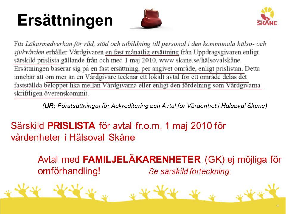 16 Ersättningen (UR: Förutsättningar för Ackreditering och Avtal för Vårdenhet i Hälsoval Skåne) Särskild PRISLISTA för avtal fr.o.m. 1 maj 2010 för v