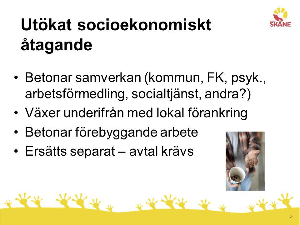 20 Utökat socioekonomiskt åtagande Betonar samverkan (kommun, FK, psyk., arbetsförmedling, socialtjänst, andra?) Växer underifrån med lokal förankring