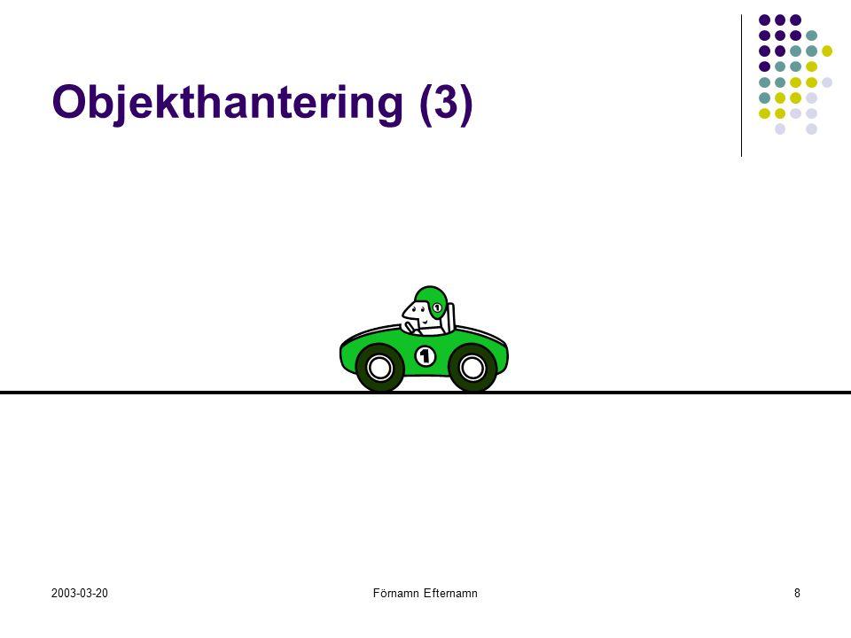 2003-03-20Förnamn Efternamn8 Objekthantering (3)
