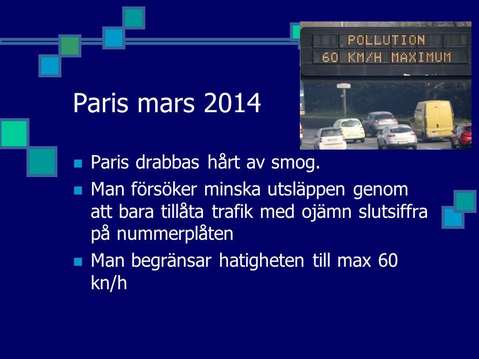 Paris mars 2014 Paris drabbas hårt av smog. Man försöker minska utsläppen genom att bara tillåta trafik med ojämn slutsiffra på nummerplåten Man begrä