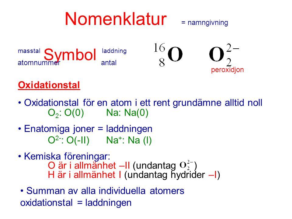 masstal laddning Nomenklatur = namngivning Symbol atomnummerantal peroxidjon Oxidationstal Oxidationstal för en atom i ett rent grundämne alltid noll