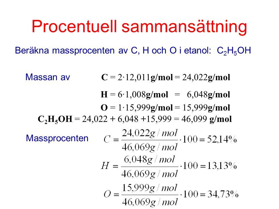 Procentuell sammansättning Beräkna massprocenten av C, H och O i etanol: C 2 H 5 OH Massan av C = 2·12,011g/mol = 24,022g/mol H = 6·1,008g/mol = 6,048