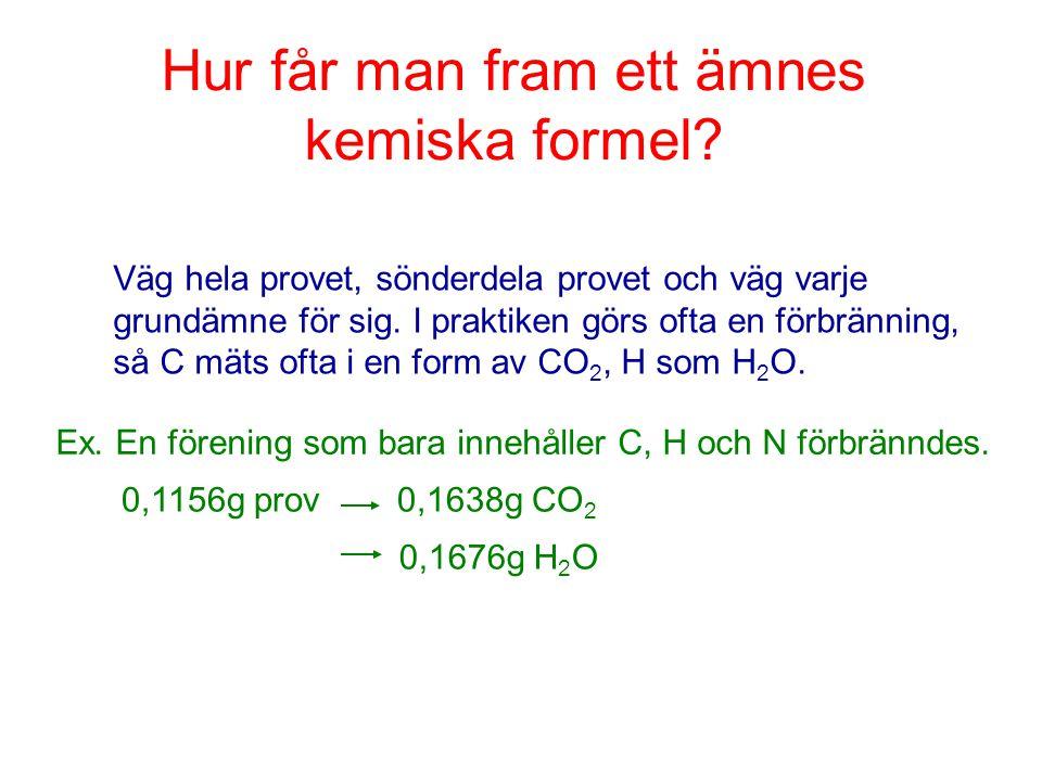 Hur får man fram ett ämnes kemiska formel? Ex. En förening som bara innehåller C, H och N förbränndes. Väg hela provet, sönderdela provet och väg varj