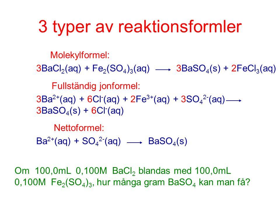 3 typer av reaktionsformler Molekylformel: 3BaCl 2 (aq) + Fe 2 (SO 4 ) 3 (aq)3BaSO 4 (s) + 2FeCl 3 (aq) Fullständig jonformel: 3Ba 2+ (aq) + 6Cl - (aq