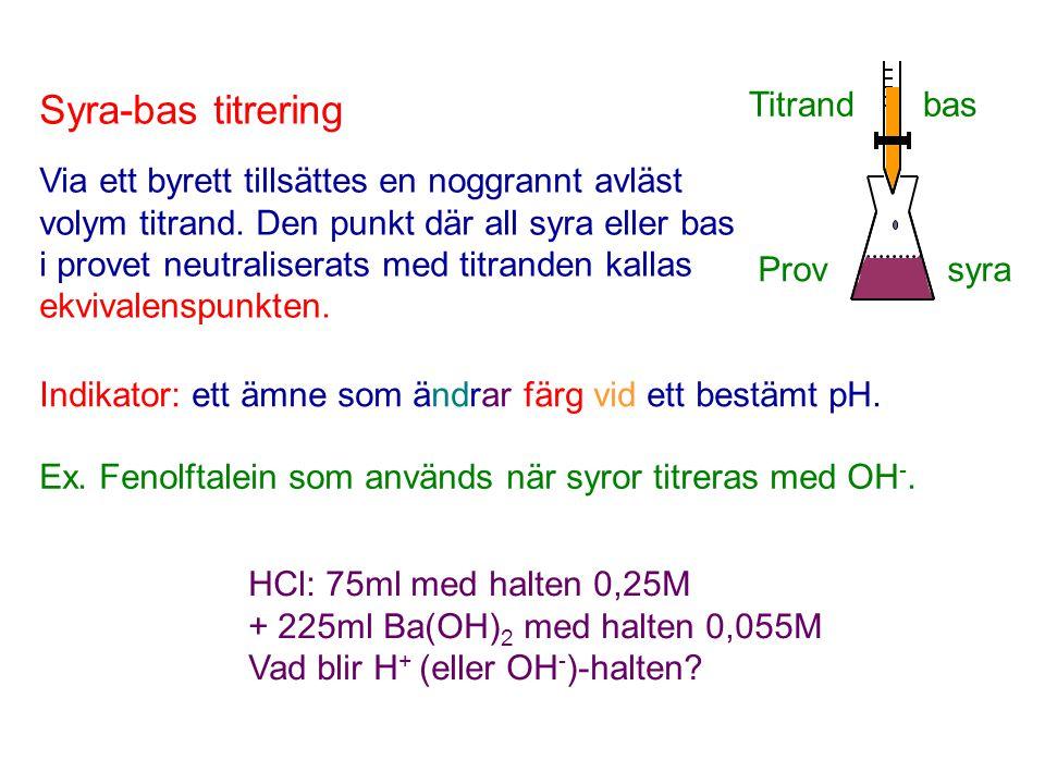 Titrand bas Prov syra Syra-bas titrering Via ett byrett tillsättes en noggrannt avläst volym titrand. Den punkt där all syra eller bas i provet neutra