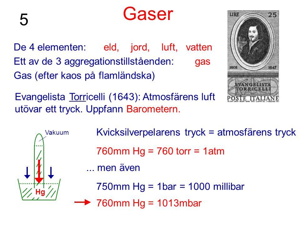 Gaser De 4 elementen: eld, jord, luft, vatten Ett av de 3 aggregationstillståenden: gas Gas (efter kaos på flamländska) Evangelista Torricelli (1643):
