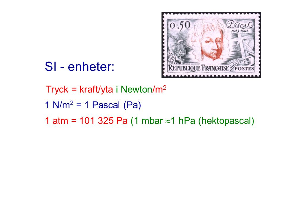 SI - enheter: 1 N/m 2 = 1 Pascal (Pa) 1 atm = 101 325 Pa (1 mbar  1 hPa (hektopascal) Tryck = kraft/yta i Newton/m 2