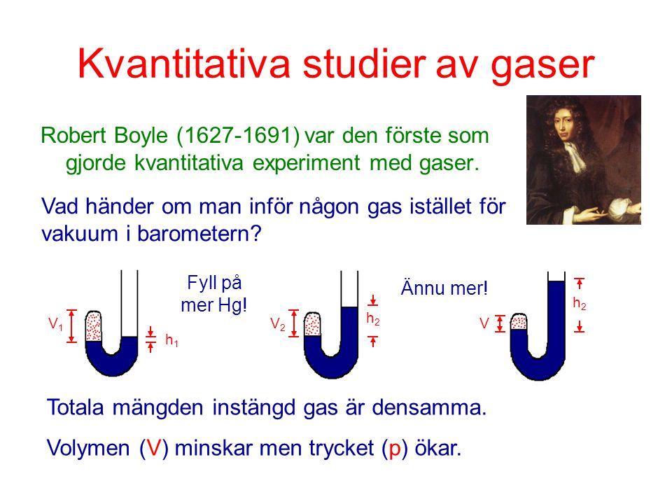 Kvantitativa studier av gaser Robert Boyle (1627-1691) var den förste som gjorde kvantitativa experiment med gaser. V1V1 h1h1 Fyll på mer Hg! V h2h2 V