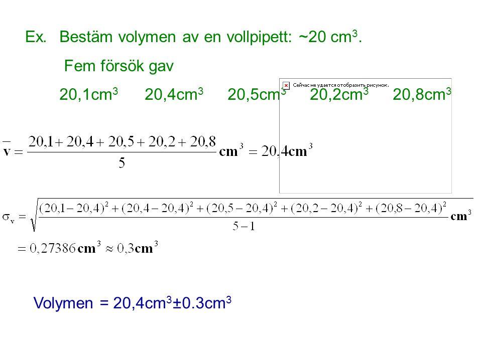 Ex.Bestäm volymen av en vollpipett: ~20 cm 3. Fem försök gav 20,1cm 3 20,4cm 3 20,5cm 3 20,2cm 3 20,8cm 3 Volymen = 20,4cm 3 ±0.3cm 3