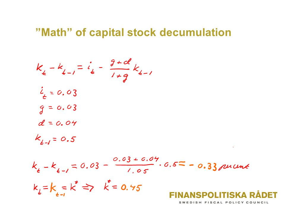 """Math"" of capital stock decumulation"