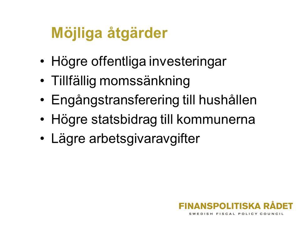 Möjliga åtgärder Högre offentliga investeringar Tillfällig momssänkning Engångstransferering till hushållen Högre statsbidrag till kommunerna Lägre arbetsgivaravgifter