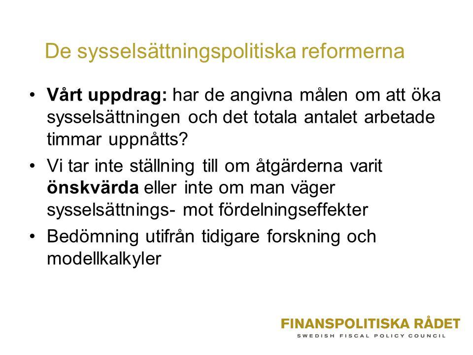 De sysselsättningspolitiska reformerna Vårt uppdrag: har de angivna målen om att öka sysselsättningen och det totala antalet arbetade timmar uppnåtts.