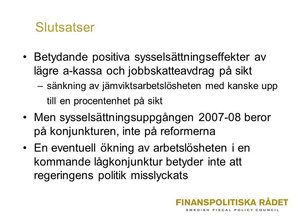 Slutsatser Betydande positiva sysselsättningseffekter av lägre a-kassa och jobbskatteavdrag på sikt –sänkning av jämviktsarbetslösheten med kanske upp