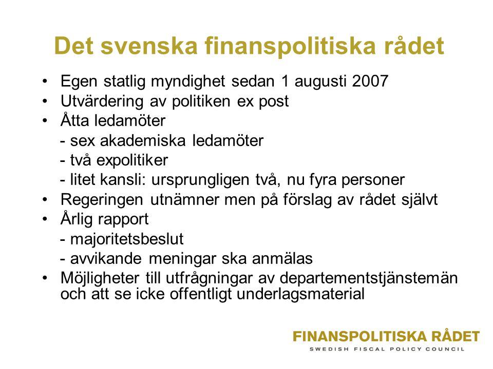 Det svenska finanspolitiska rådet Egen statlig myndighet sedan 1 augusti 2007 Utvärdering av politiken ex post Åtta ledamöter - sex akademiska ledamöt