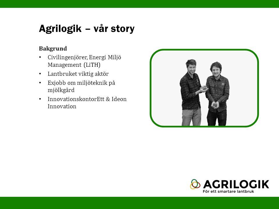 Agrilogik – vår story Bakgrund Civilingenjörer, Energi Miljö Management (LiTH) Lantbruket viktig aktör Exjobb om miljöteknik på mjölkgård Innovationsk