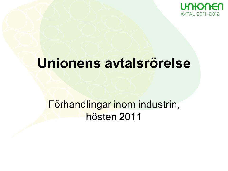 Unionens avtalsrörelse Förhandlingar inom industrin, hösten 2011